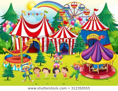 Meisjes jongleren circus tent illustratie kunst Stockfoto © bluering