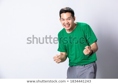 successful businessman screaming and celebrating with hands in t Stock photo © feedough