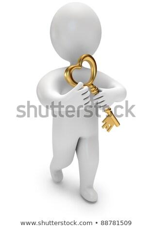 Foto stock: Hombre · 3d · apertura · corazón · oro · clave · grande