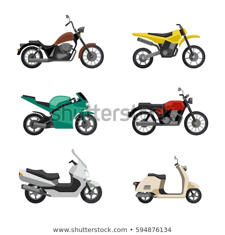Set of colorful moped in flat style side view. Stock photo © MarySan