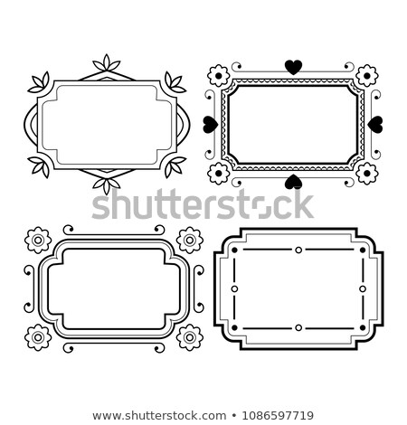 Set of vintage grayscale frame in a lineart style Stock photo © heliburcka