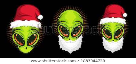 red alien head cartoon icon vector illustration stock photo © cidepix