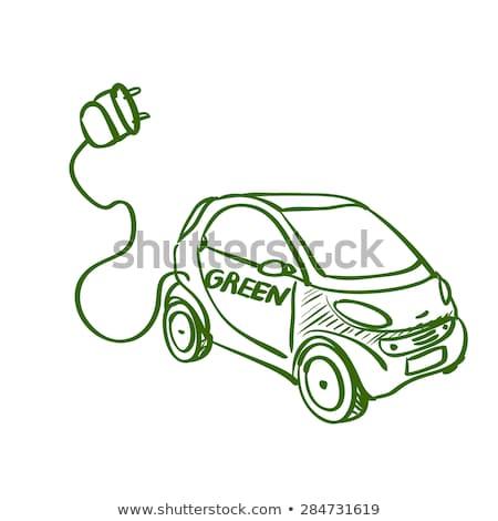 elektrikli · araba · yalıtılmış · yeşil · ikon · araba · ışık - stok fotoğraf © rastudio