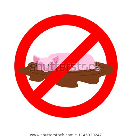 Stop pig. Ban wallow in mud. It is forbidden to be dirty Stock photo © popaukropa