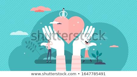 pessoa · manter · vermelho · coração · mão · vetor - foto stock © robuart