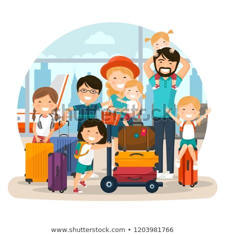 Feliz numeroso família aeroporto espera vôo Foto stock © Imaagio