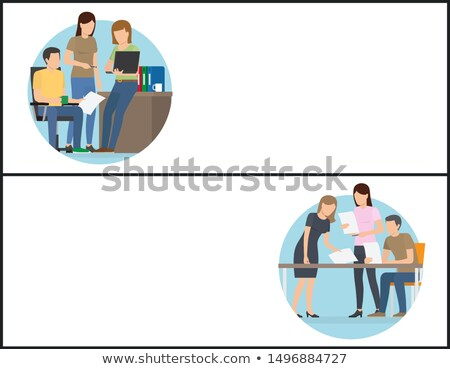 Irodai munka dolgozik feladat promo bannerek szett Stock fotó © robuart