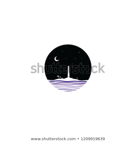mezzanotte · scena · faro · segno · simbolo · vettore - foto d'archivio © vector1st