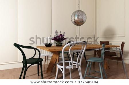 Rustykalny jadalnia projektu drewna ściany Zdjęcia stock © iriana88w