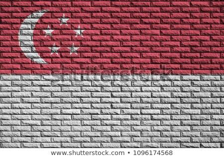 Singapore flag painted on brickwall Stock photo © colematt