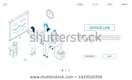 Foto stock: Negócio · analítica · moderno · isométrica · vetor · teia