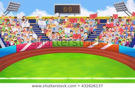 Rajz sportok ventillátor illusztráció integet személy Stock fotó © bennerdesign