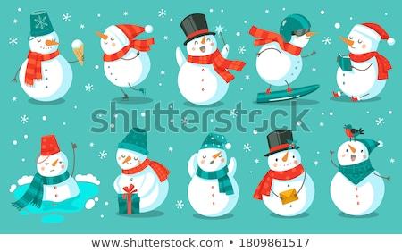 снеговик подарок настоящее изолированный счастливым Сток-фото © ori-artiste