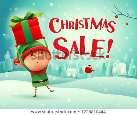 neşeli · Noel · küçük · cin · hediye · sunmak - stok fotoğraf © ori-artiste