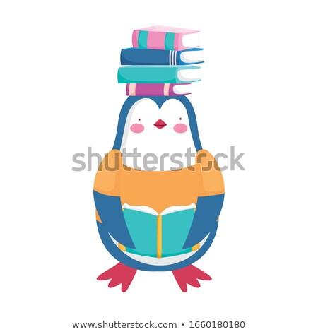 Desenho animado pinguim leitura ilustração livro sorrir Foto stock © cthoman