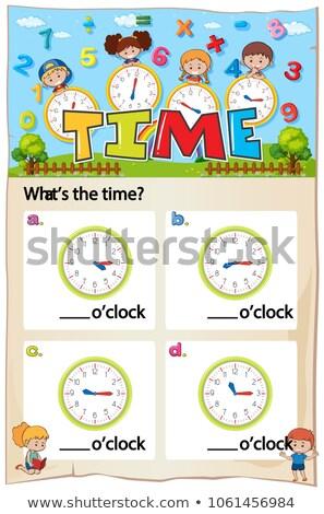 Worksheet for telling time Stock photo © colematt