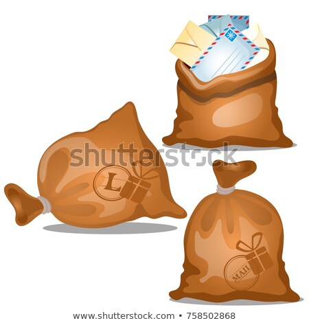 A set of canvas bags of letters and parcels in envelopes isolated on white background. Vector cartoo stock photo © Lady-Luck