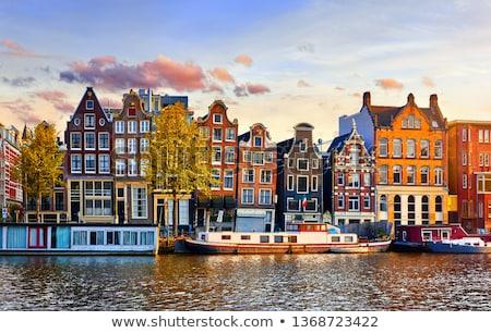 Stok fotoğraf: Evler · Amsterdam · Hollanda · köprü · kanal · ayna