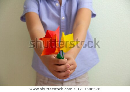 Stock photo: grandmother and girl study flowers at garden