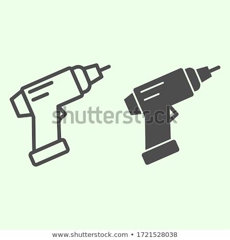 eléctrica · destornillador · negro · silueta · tornillo · siluetas - foto stock © biv