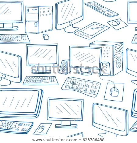 Végtelen minta elektronikus szerkentyű szett kézzel rajzolt ikonok Stock fotó © netkov1