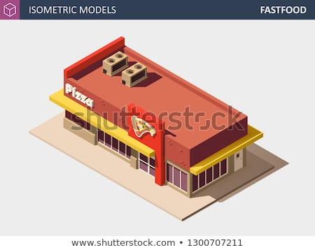 Vector Isometric Fast Food or Pizzerie Building with Sale Sign Board. Stock photo © tashatuvango