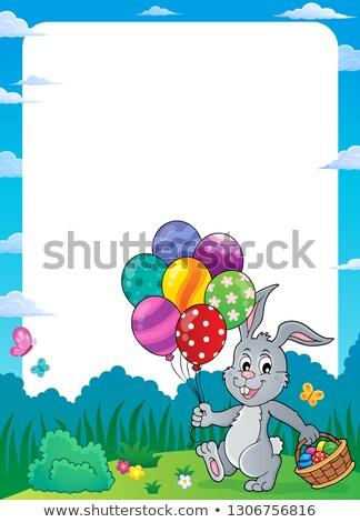 Lapin De Pâques Ballons Cadre Lapin Oeuf Art