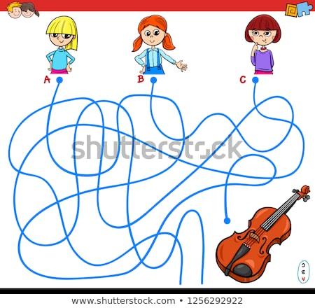 Rajz labirintus játék lány hegedű illusztráció Stock fotó © izakowski