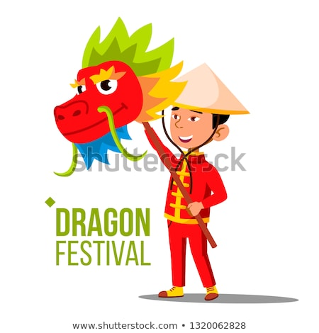dragon festival vector chinese asiatic child with dragon head isolated flat cartoon illustration stock photo © pikepicture