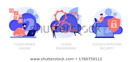 Felhő gép digitális eszközök üzletember laptop Stock fotó © RAStudio