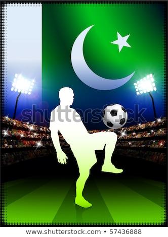 Pakisztán zászló labdarúgó illusztráció futball sport Stock fotó © colematt