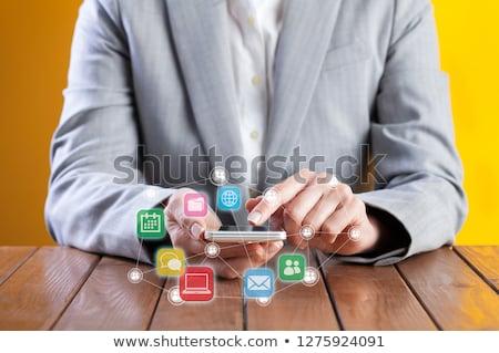 üzletasszony telefon posta körül online kommunikáció Stock fotó © ra2studio