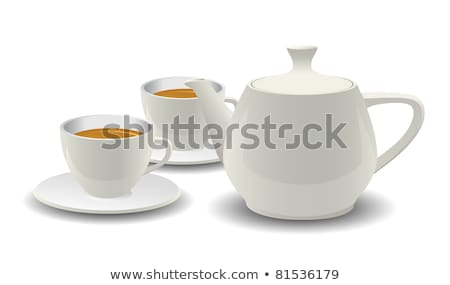 tea cups and pot kitchenware vector realistic set stock photo © pikepicture