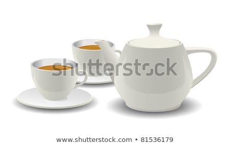 Tea Cups And Pot Kitchenware Vector Realistic Set Stok fotoğraf © pikepicture
