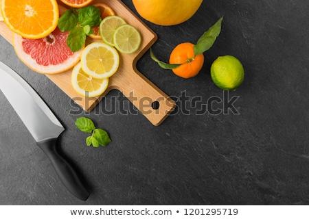 Foto stock: Frutas · cuchillo · mesa · superior · alimentos