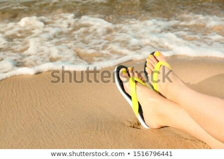Persone piedi relax testo onda spiaggia Foto d'archivio © AndreyPopov