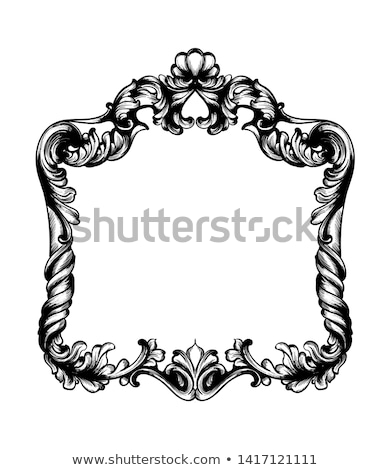 Baroque mirror frame Vector. Victorian ornamented border monogra Stock photo © frimufilms