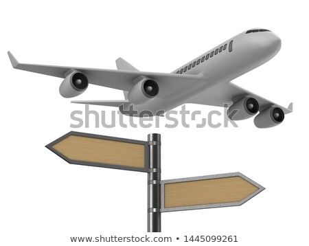 airplane and signpost on white background isolated 3d illustrat stock photo © iserg