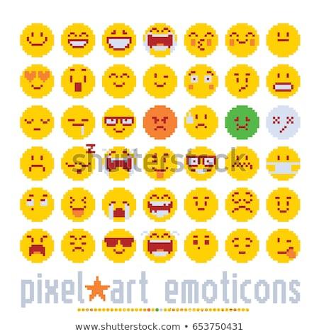 Emoticon Face Pixel Art 8 Bit Video Game Icon Stock photo © Krisdog