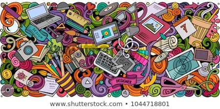 cartoon vector doodles art card detailed with lots of objects illustration stock photo © balabolka