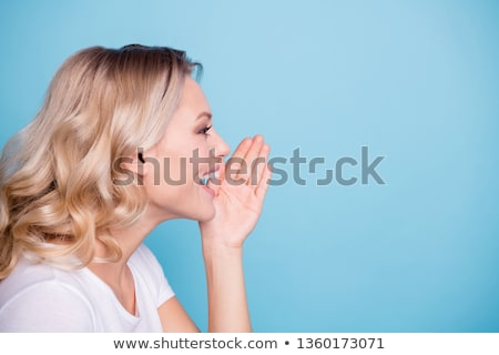 portret · jonge · vrouw · bril · schreeuwen - stockfoto © kzenon