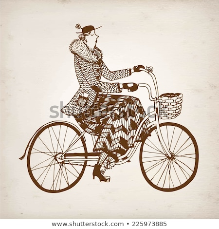 Lady on a retro bicycle with hat and basket vector Illustration  Stock photo © NikoDzhi