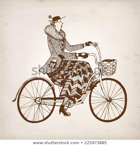 女性 レトロな 自転車 帽子 バスケット 孤立した ストックフォト © NikoDzhi
