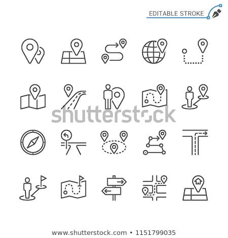 House Marker Location On Map Vector Thin Line Icon Stock photo © pikepicture