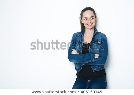 Ciało shot wesoły kobieta denim kurtka Zdjęcia stock © Lopolo