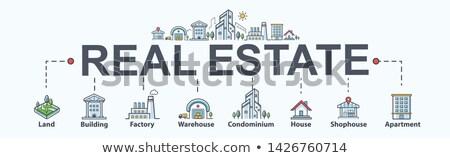 Budynku domu sprzedaży minimalny banner Zdjęcia stock © pikepicture