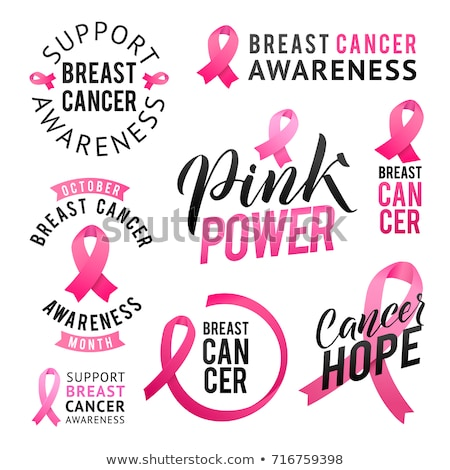 Breast cancer awareness pink ribbon label quote Stock photo © cienpies