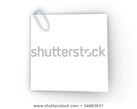 Blank sticky note with paperclip 3D Stock photo © djmilic