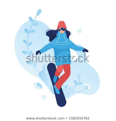 Snowboard fille personnage cartoon illustration illustrations Photo stock © izakowski