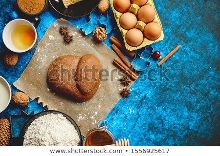 Gingerbread dough placed among various ingredients. Christmas baking concept Stock photo © dash